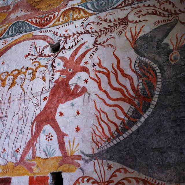 Kalkmaleri i Elmelunde kirke, de fortabte på vej mod fortabelsen