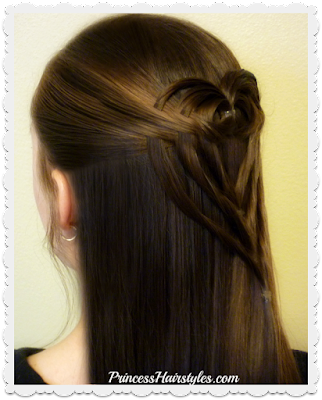 Cute and easy heart hairstyle for Valentines Day! Video tutorial. Triple tuck heart hairstyle.