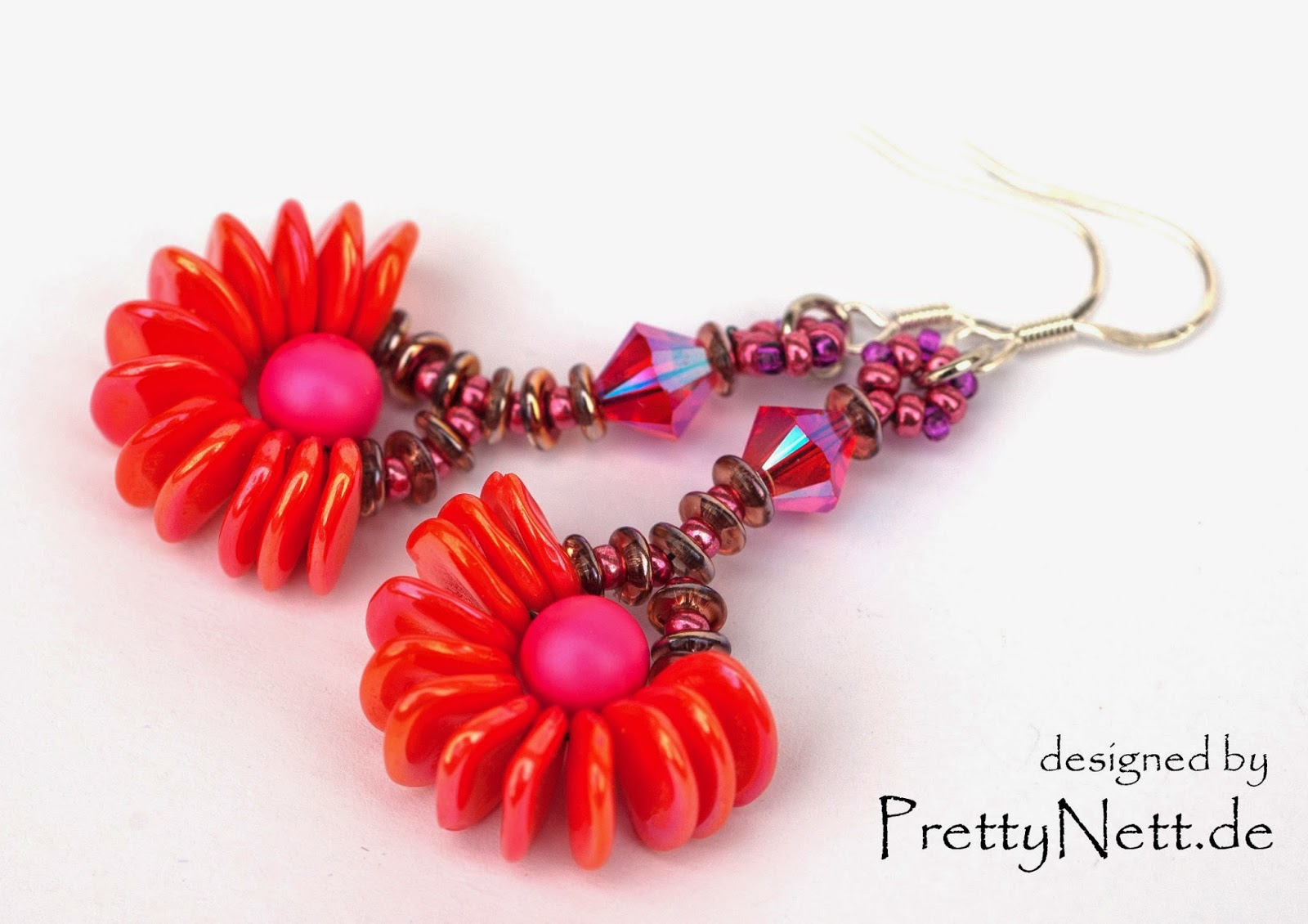 Beaded earrings with Rose Petal beads - Free beading tutorial