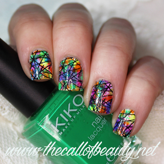 Rainbow with dry brush technique nail art