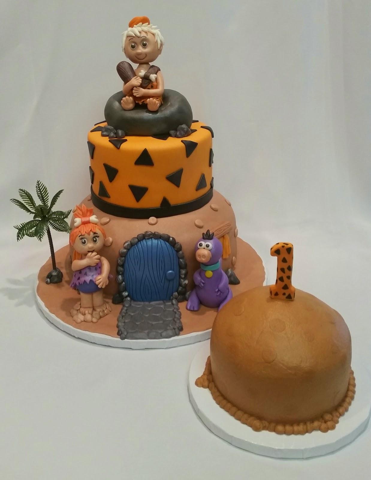 mymonicakes flintstones cake with fondant bam bam