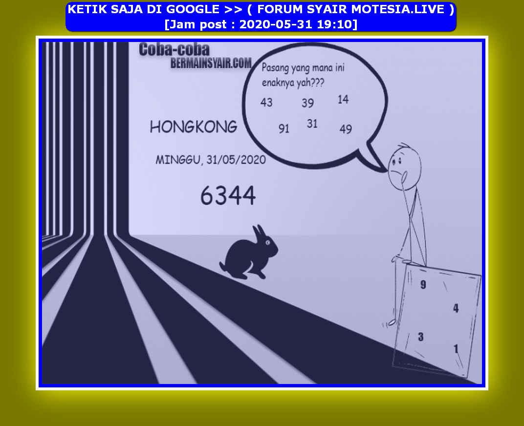 Kode syair Hongkong Minggu 31 Mei 2020 103