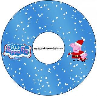 Funda para CD's para imprimir gratis de Peppa Pig en Navidad.