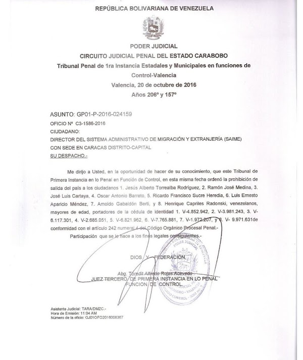 Prohíben salida del país a ocho directivos de la Unidad