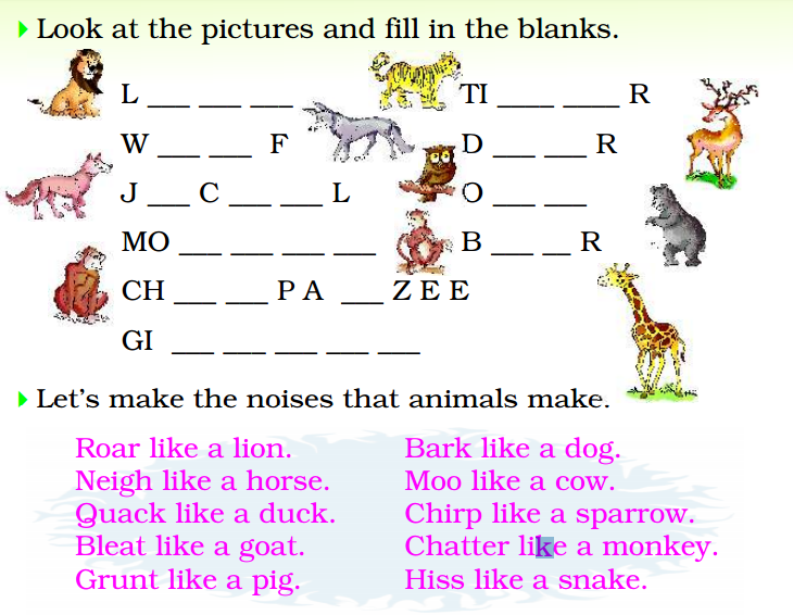 English Exercise Animal S Sounds And Fill In The Blanks Learn