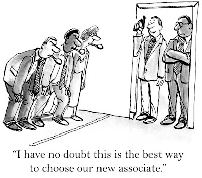 cartoon of 3 job candidates forced into an egg-on-the-spoon race to win the position