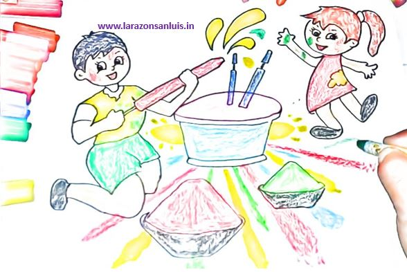 Holi Drawing for Kids