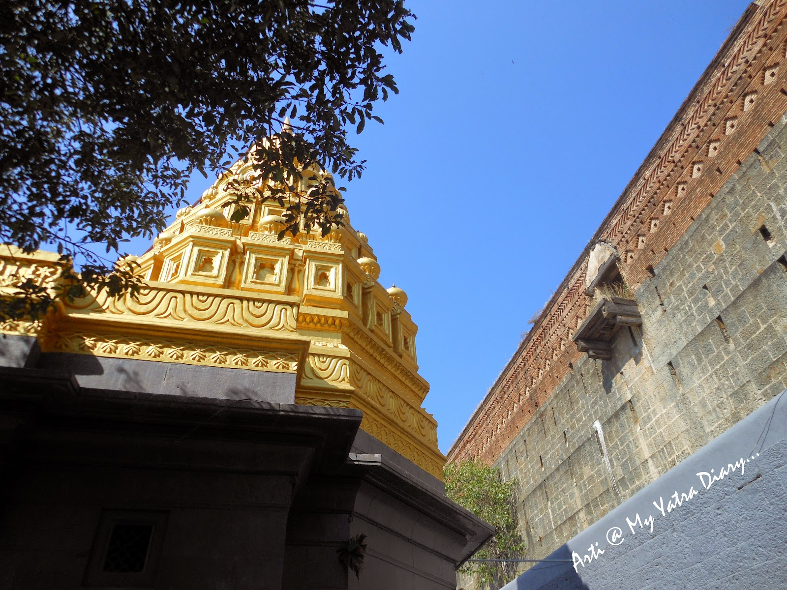 The gold plated spire of the Bhairavnath temple, Saswad, Pune, Maharashtra
