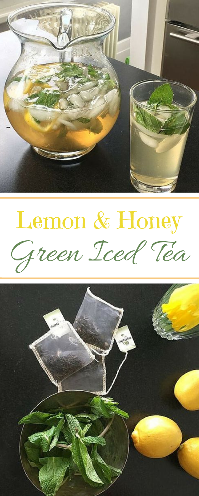 Lemon & Honey Green Iced Tea #drinks #icedtea