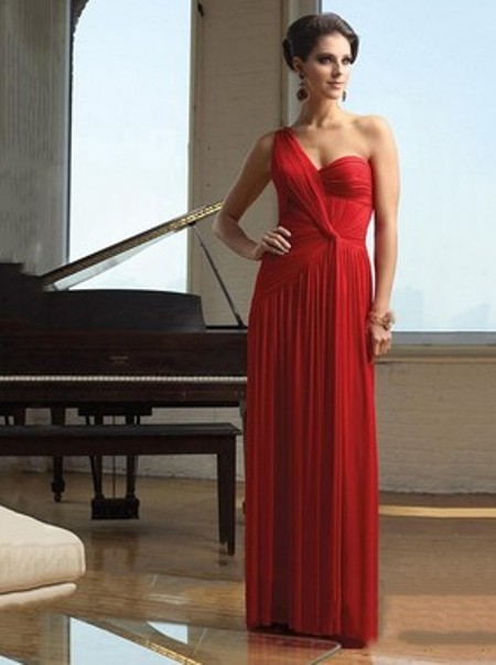 Red Chiffon with Pleats Sexy Open Back A-line One Shoulder Evening Dress -Price: $126.17 ( 56.0% OFF )