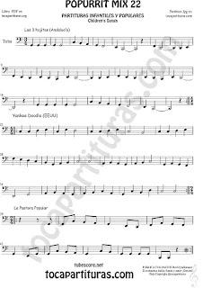 Partitura de Tuba Elicón (o Bajo Metal) & Contrabajo CLAVE DE FA 8ª baja Yankee Doodley, Las 3 hojitas, La Pastora Mix 22 Sheet Music for Tuba Music Score