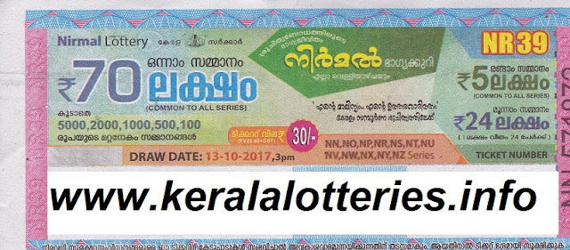 Nirmal Lottery NR-39 result on 13-10-2017