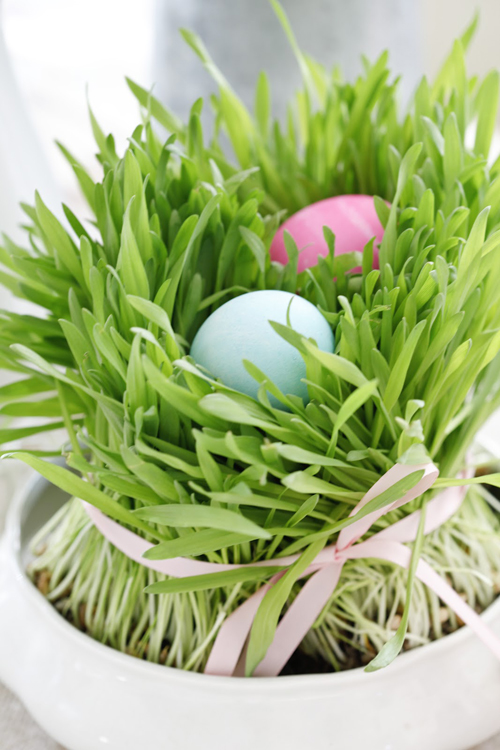 Easterfinal2 DIY Easter Table Setting With Eggs and Grass From Dusty Lu Interiors
