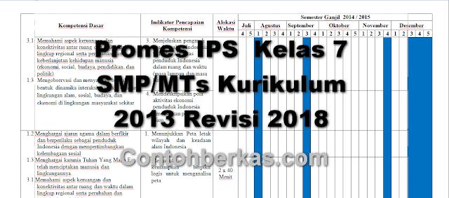 Promes IPS  Kelas 7 SMP/MTs Kurikulum 2013 Revisi 2018