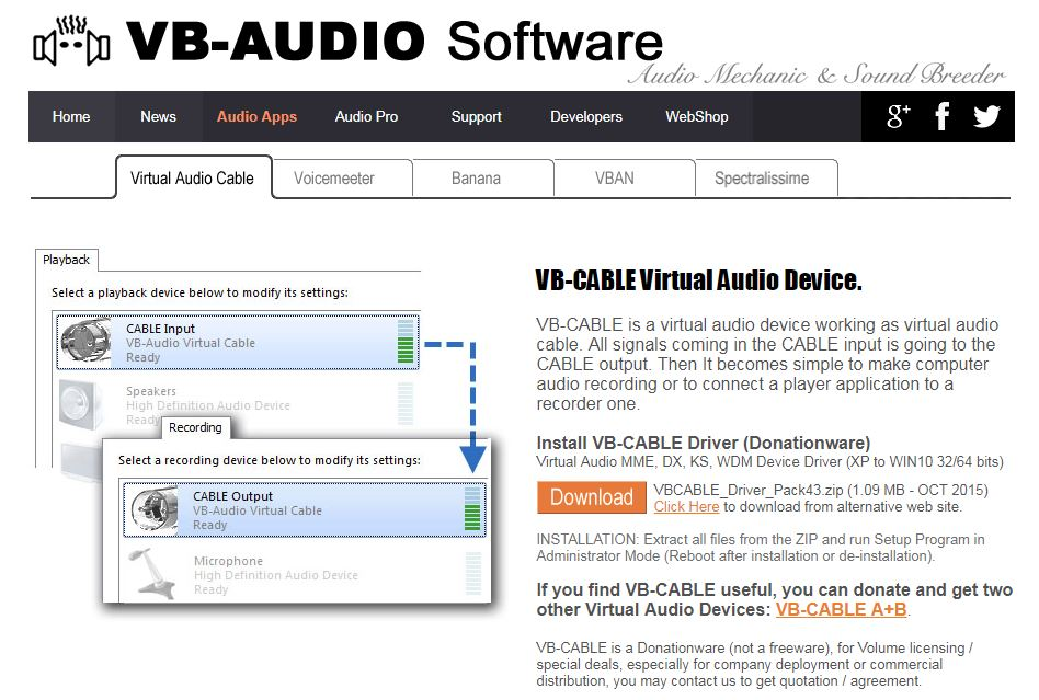 virtual cable audio download
