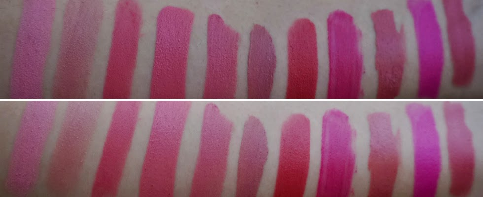 Pink Lipsticks Swatches