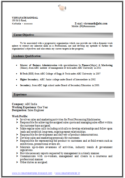 download latest resume format for experienced