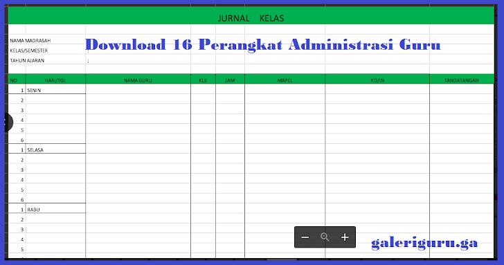 Download 16 Perangkat Administrasi Guru Dalam 1 File Excel