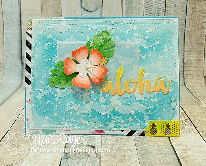 Aloha Card by Naki Rager | Hibiscus Die Set by Newton's Nook Designs #newtonsnook