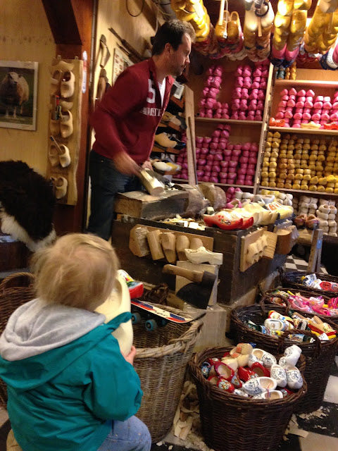 Wooden Shoe Demonstration - Zaanse Schans - Holland Travel Tips. For more tips and tricks for traveling with babies and young children, follow along @awayweego