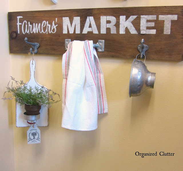 Rustic Kitchen Sign with Hooks & Old Sign Stencils
