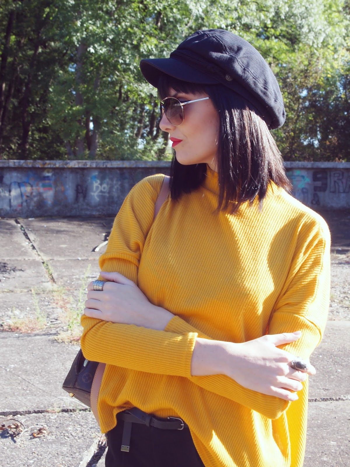 mustard yellow h&m jumper sweater oversized turtleneck