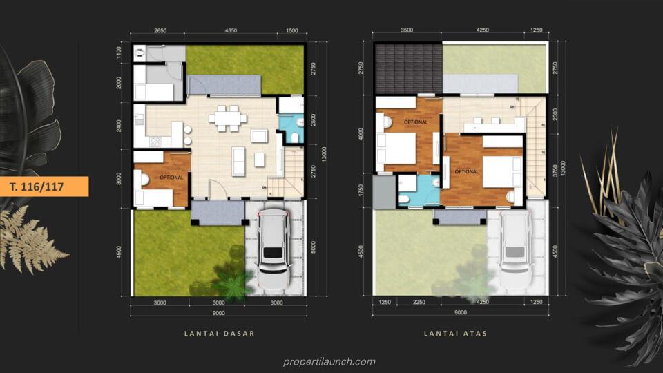 Denah Rumah Savia Park @ Nusa Loka BSD Tipe 116