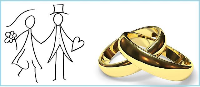 ilustração de uma casal segurando as maõs e duas alianças de ouro.