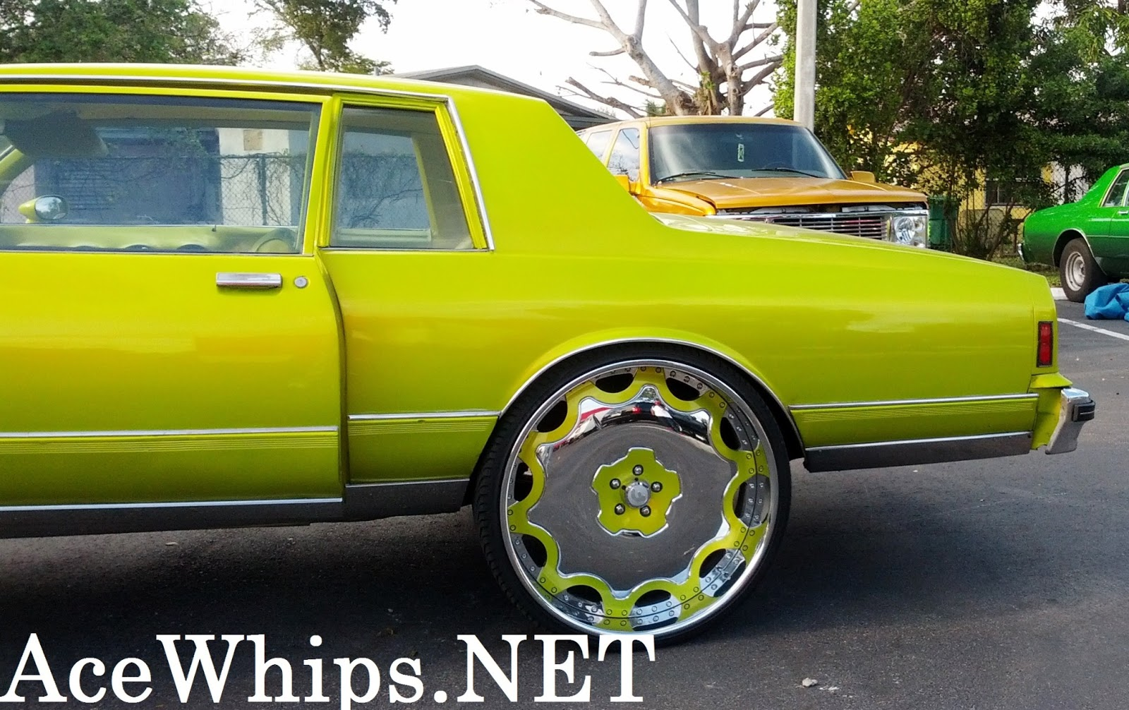 "Ford Fusion Black Rims >> Ace-1: ON SALE: Candy Lime Gold 2DR Chevy Box on 28"" Fiore ..."
