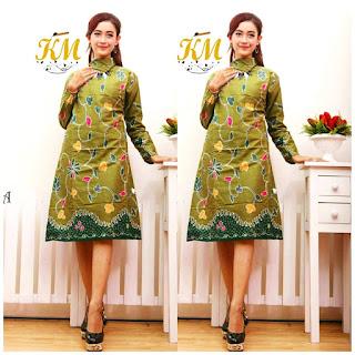 Contoh Baju Batik Wanita Modern Model Batik Terbaru 2018 warna hijau