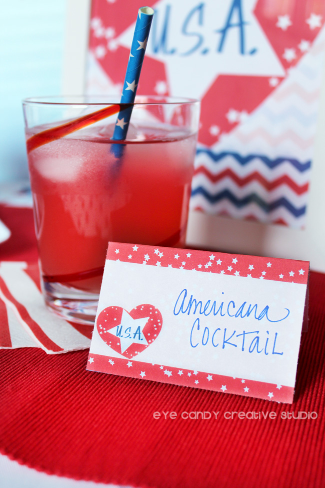 americana cocktail, free drink labels, free american labels, stars , i love USA