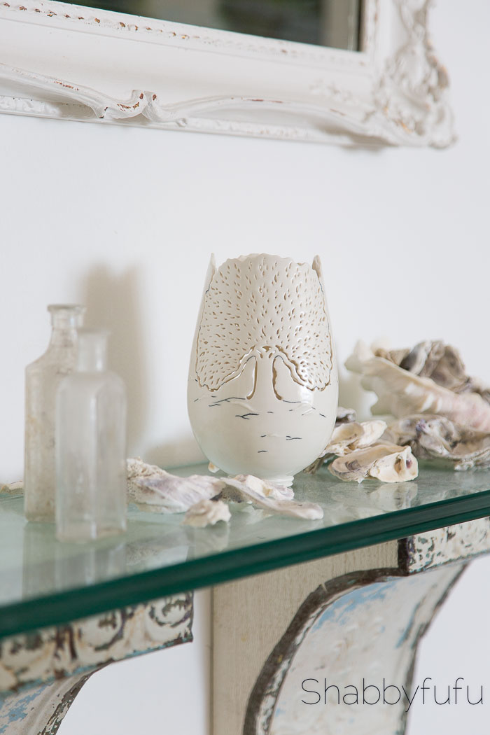 white oyster shell bottles