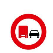 Запрет на обгон для грузовых автомобилей  с общей массой 3,5 т включая прицеп.  Исключения легковые автомобили и автобусы
