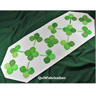 CLOVER TABLE RUNNER-ST PATRICKS DAY DECOR-FOUR LEAF CLOVER-QUILT PATTERN