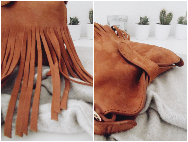 & Other Stories Camel Fringed Leather Shoulder Bag