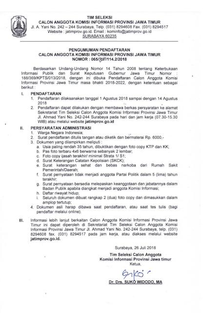 Pengumuman Pendaftaran Calon Anggota Komisi Informasi Provinsi Jawa Timur