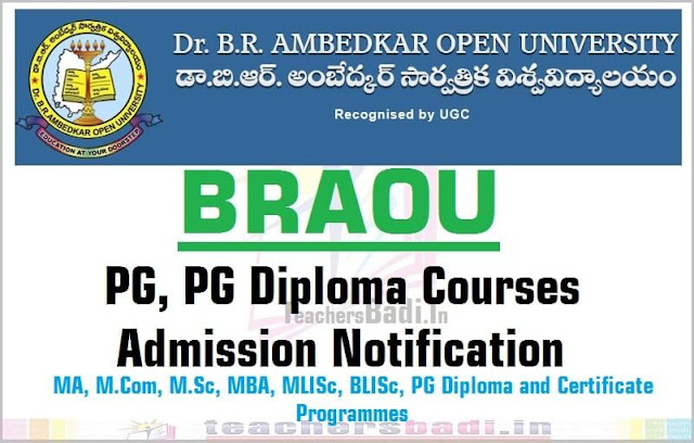 BRAOU PG, PG Diploma courses admissions 2016 Notification