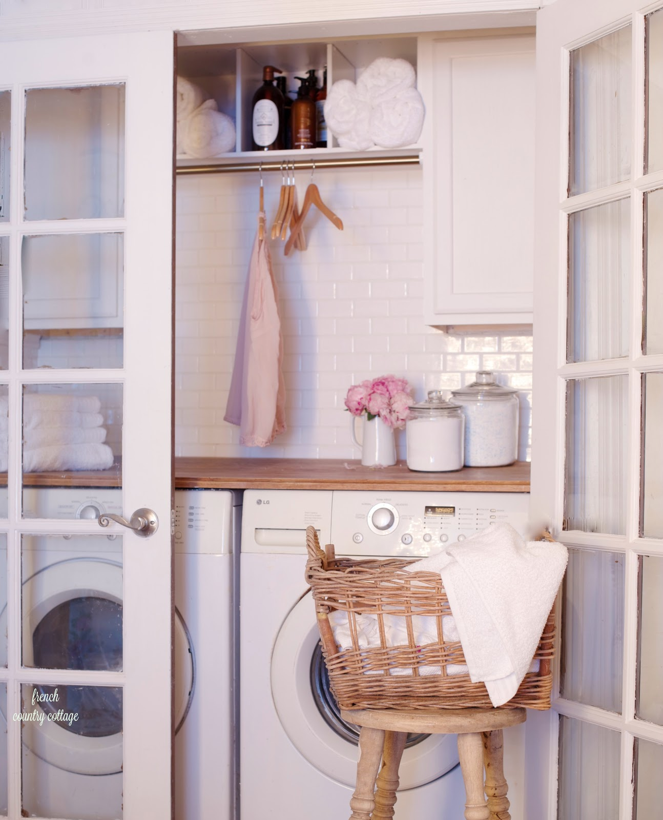 Vintage Style Laundry Room Renovation With French Doors Butcher Block