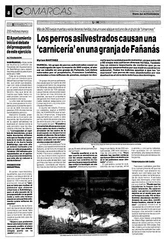 Los perros asilvestrados causan una carnicería en una granja de Fañanás