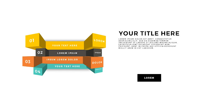 Useful 3D Cube Design Elements for PowerPoint Template with Top View of 4 items and Subscriptions.