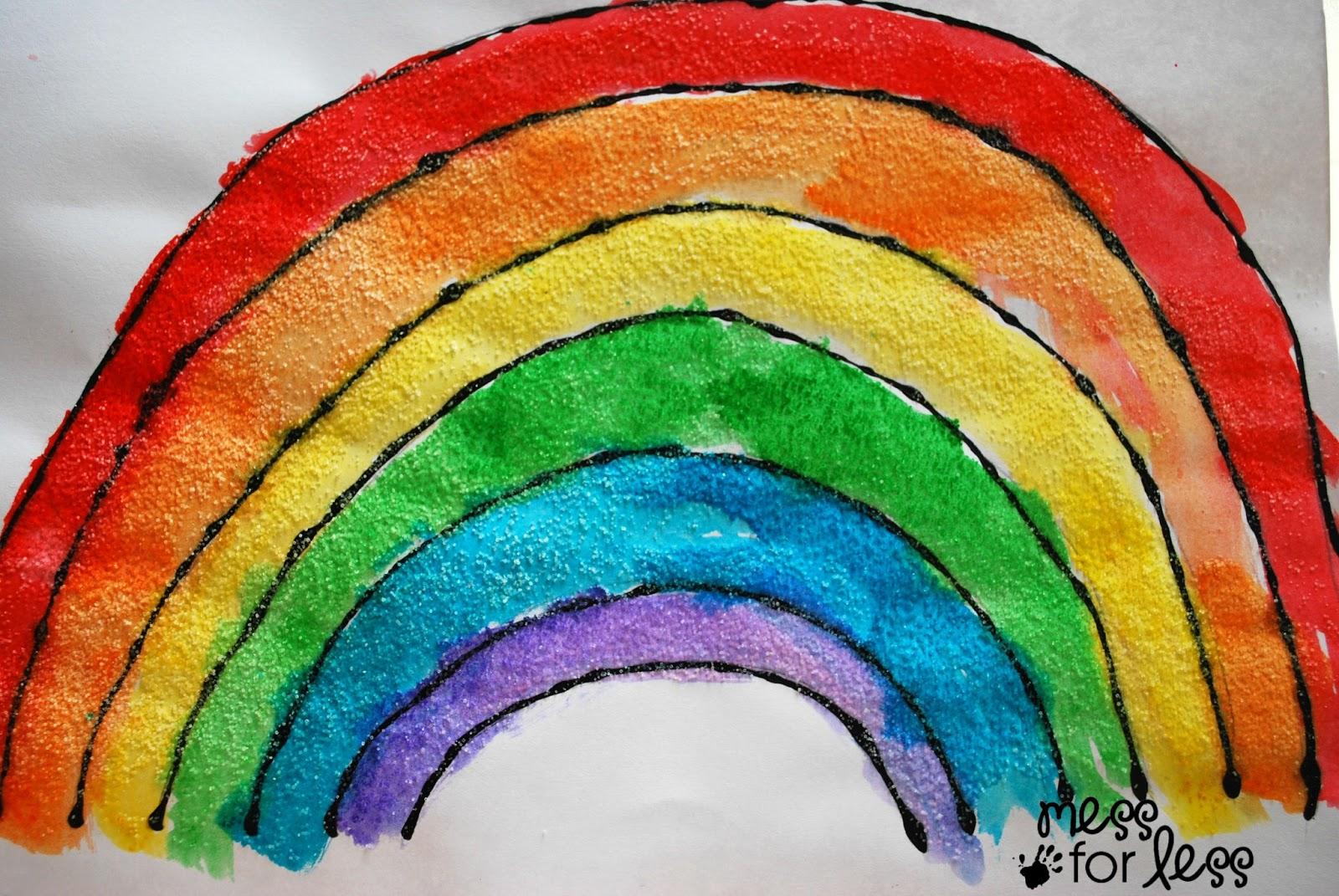 Rainbow Craft Black Glue And Salt Watercolor Rainbow