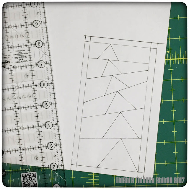 Thistle Thicket Studio, paper piecing, drafting paper piecing patterns, flying geese block, quilts, quilting