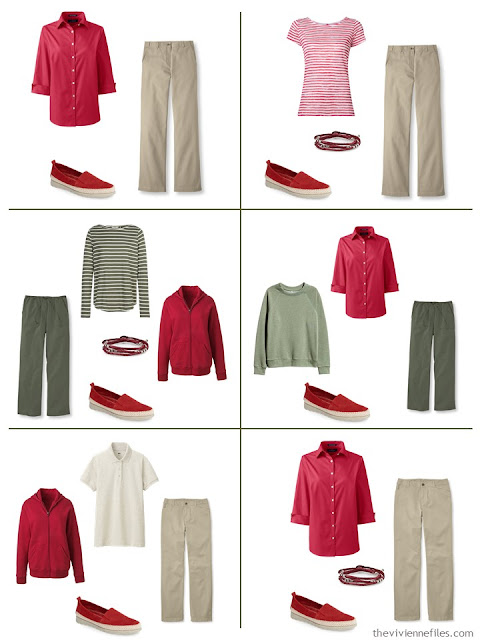 six ways to wear red with khaki tan or olive green when the weather in warm