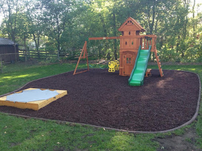 blog, Minnesota, back yard, swing set, slide, sandbox, play area, children, kids, sump pump, grass, sod, rubber mulch