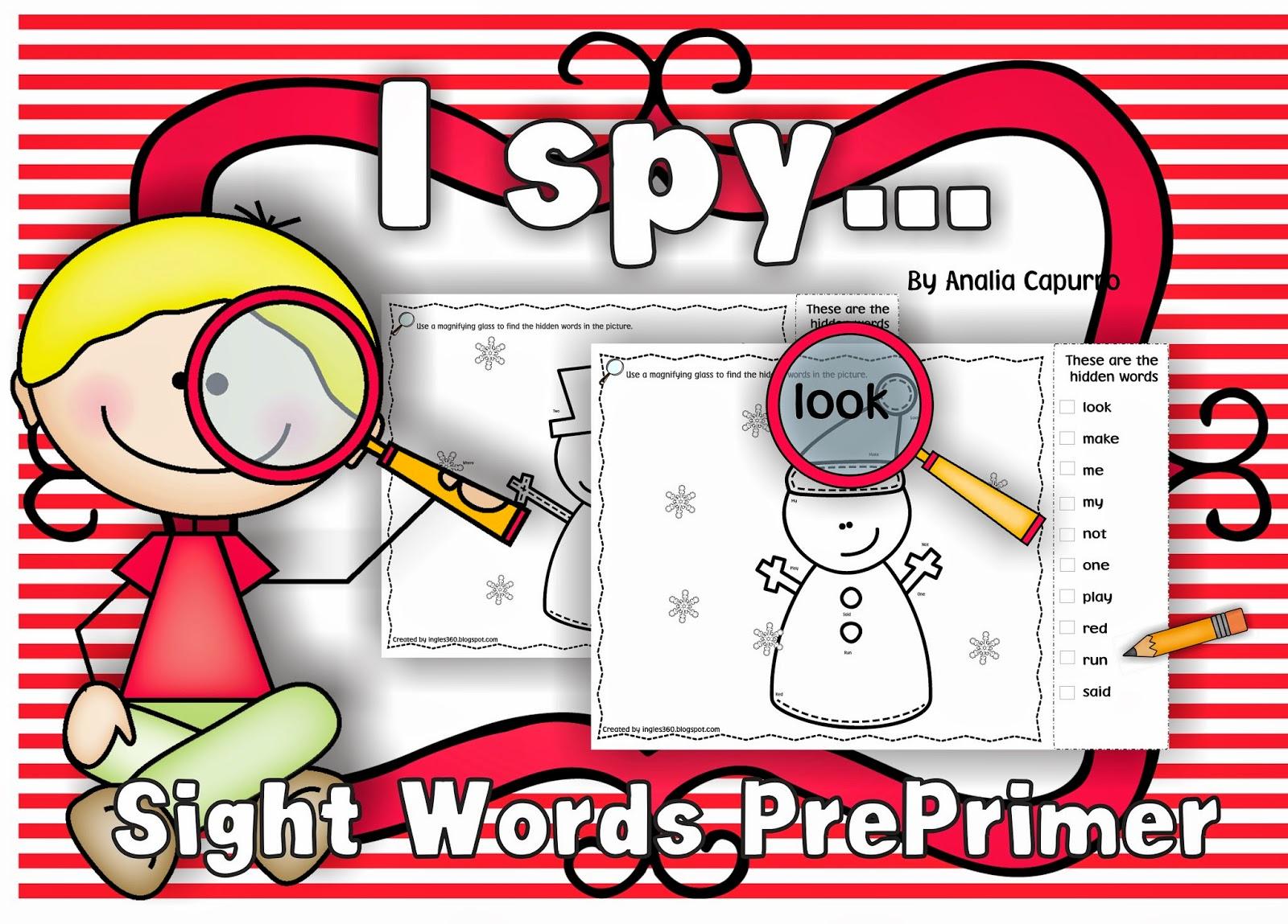 Classroom Freebies I Spy Ght Words