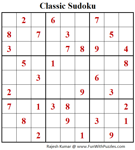 Classic Sudoku (Fun With Sudoku #179)