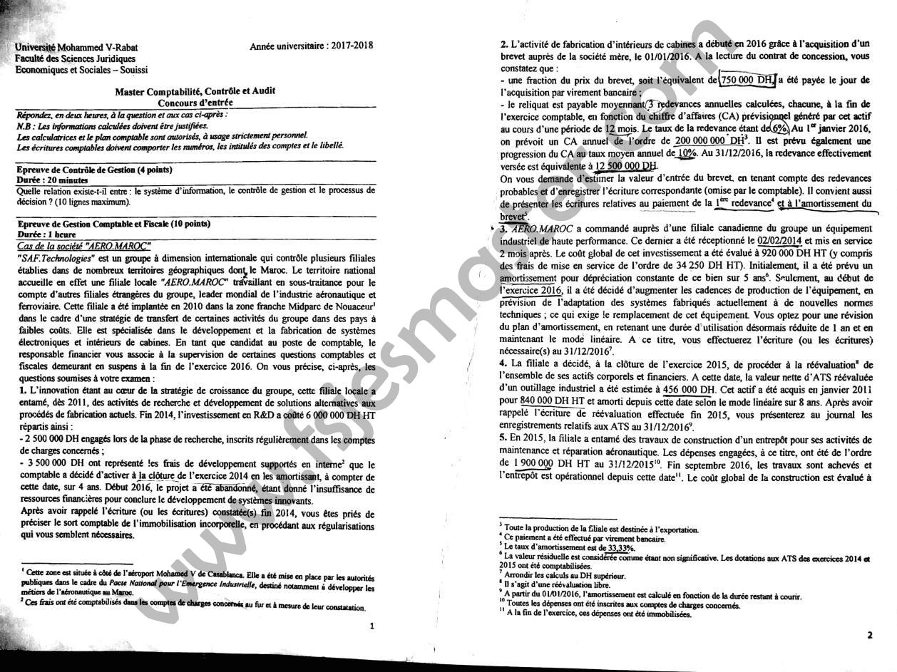 Concours Master Comptabilité Contrôle Audit (CCA) 2017-2018 - Fsjes Souissi