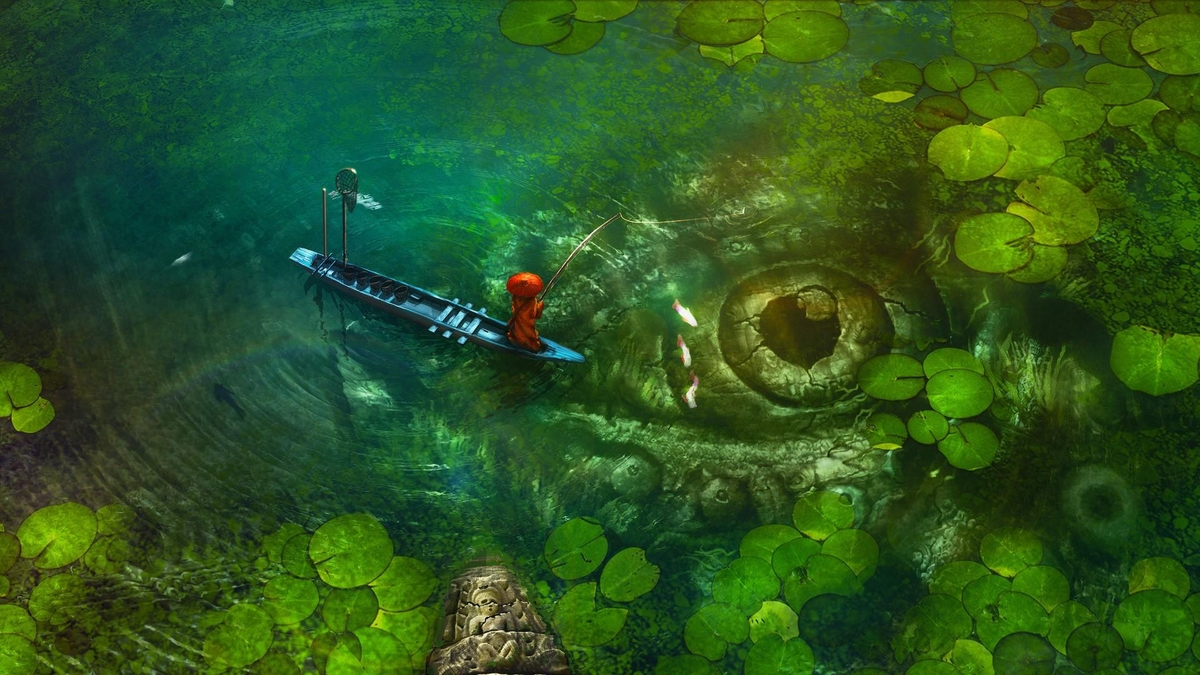 09-Fishing-Spot-with-the-water-lilies-Quentin-Fantasy-Digital-Illustrations-with-a-bit-of-Surrealism-www-designstack-co