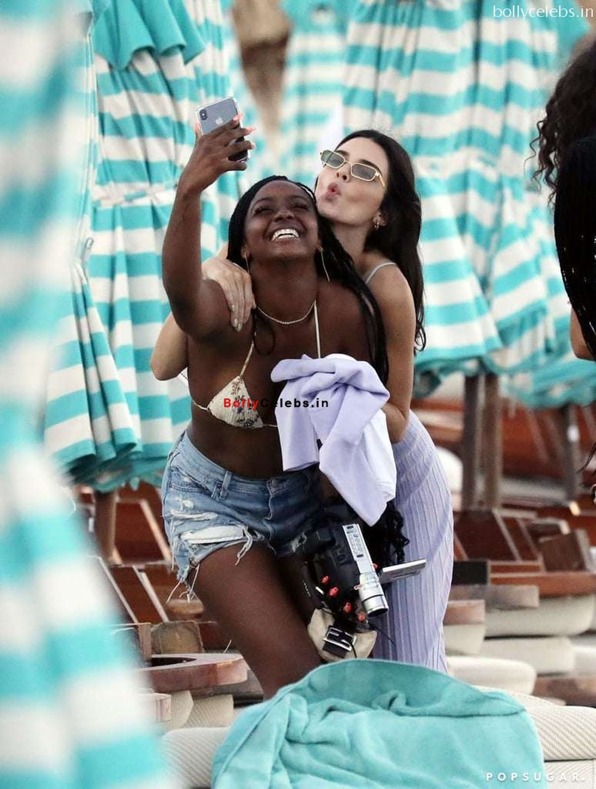 Kendall Jenner in Bikini with her teenager frinds in bikini at Mykonos Beach Greece