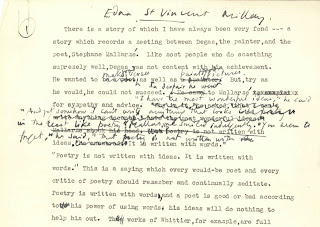 A page of typed text with heavy, handwritten annotations.